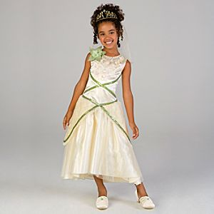 The Princess and the Frog Deluxe Princess Tiana Wedding Dress Costume for Girls