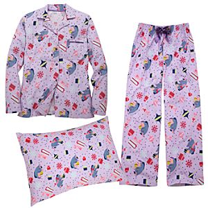 Flannel Piglet and Eeyore Pajamas and Pillowcase Set for Women