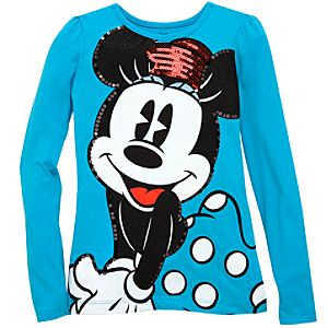 Long Sleeve Sequin Minnie Mouse Tee for Girls