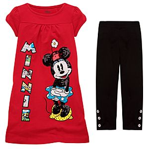 Sequin Minnie Mouse Dress and Legging Set for Girls