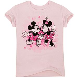 Organic Hearts Mickey and Minnie Mouse Tee for Girls