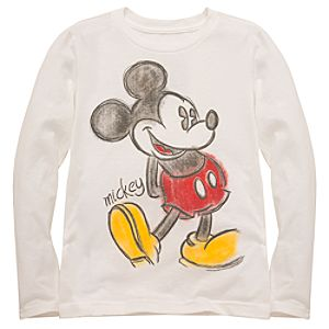 Girls Organic Long-Sleeve Mickey Mouse Tee