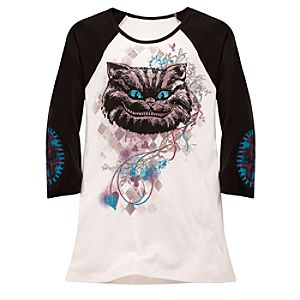 Fitted Raglan Sleeve Cheshire Cat Tee for Women