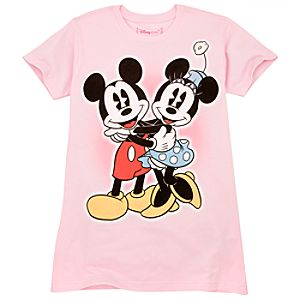 Organic Hugging Mickey and Minnie Mouse Tee for Women