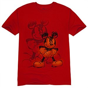 Organic Seeing Red Mickey Mouse Tee for Adults
