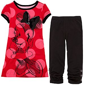 Sparkle Polka Dot Minnie Mouse Dress and Leggings Set -- 2-Pc.