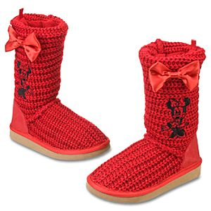 Sparkling Knitted Minnie Mouse Boots