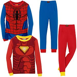 Costume Iron Man and Spider-Man PJ Sets for Boys -- 2 Pack