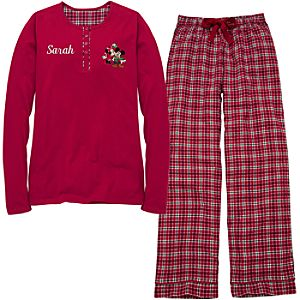 Personalized Womens Holiday Mickey Mouse Pajamas