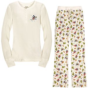Thermal and Flannel Skiing Minnie and Mickey Pajamas