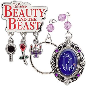 Beauty and the Beast: The Broadway Musical Locket Keyring and Lapel Pin Set