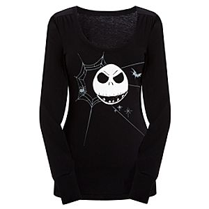 Fitted Black Jack Skellington Pajama Top
