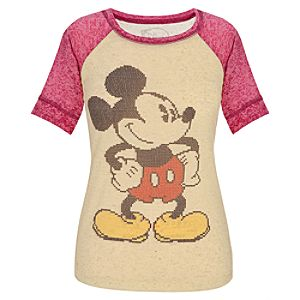 Fitted Raglan Cross Stitch Mickey Mouse Tee