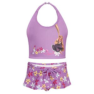 Flowery Tangled Rapunzel Swimsuit -- 2-Pc.