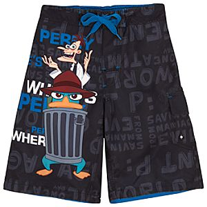 Wheres Perry? Phineas and Ferb Swim Trunks