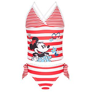 Red Striped Minnie Mouse Swimsuit -- 2-Pc.