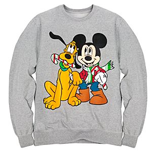 Holiday Mens Pluto and Mickey Mouse Sweatshirt