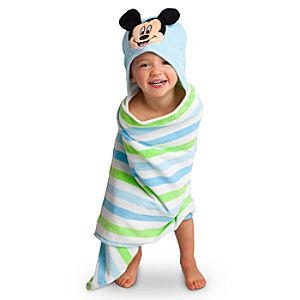 Personalized Stripes Mickey Mouse Hooded Towel