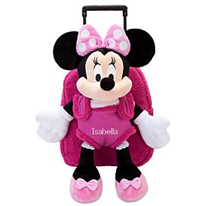 Personalized Plush Buddy Rolling Backpack -- Pink