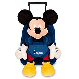 Personalized Plush Buddy Rolling Backpack -- Navy