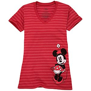 Organic Striped Vee-Neck Minnie Mouse Tee