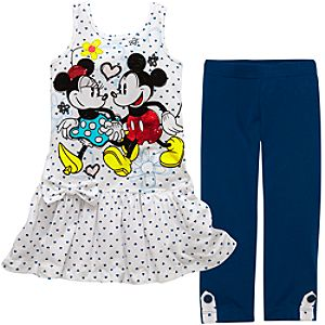 Red Foil Minnie and Mickey Mouse Tank Dress and Legging Set -- 2-Pc.