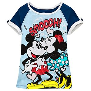 Red Foil Smooch Minnie and Mickey Mouse Tee for Girls