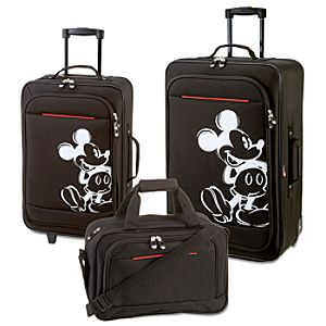 Rolling Mickey Mouse Luggage Set -- Black 3-Pc.