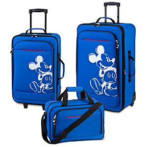 Rolling Mickey Mouse Luggage Set -- Blue 3-Pc.