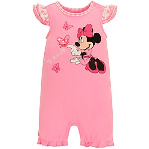 Organic Minnie Mouse Tiny Tee Coverall for Infant Girls