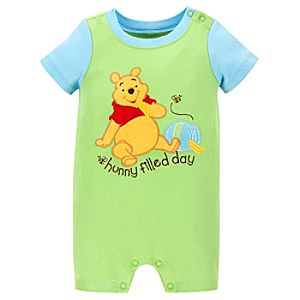 Organic Hunny filled day Pooh Tiny Tee Coverall for Infant Boys