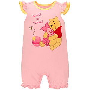 Organic Piglet and Pooh Tiny Tee Coverall for Infant Girls