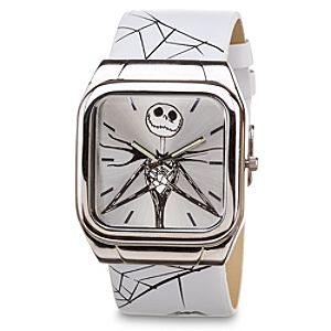 Wide Leather Band Jack Skellington Watch