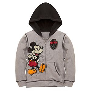 Hoodie Distressed Art Mickey Mouse Jacket for Boys
