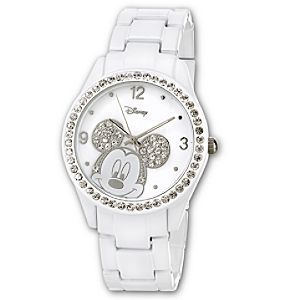 White Metal Link Mickey Mouse Watch for Women