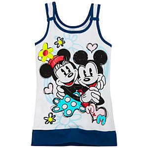 Red Foil Banded Bottom Minnie and Mickey Mouse Tank Top for Girls