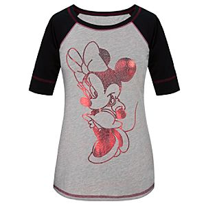 Fitted Raglan Sleeve Sequin Minnie Mouse Tee