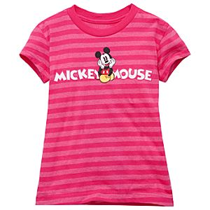 Organic Striped Mickey Mouse Tee for Girls