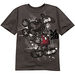 Organic Sketch Plaid Mickey Mouse Tee for Boys