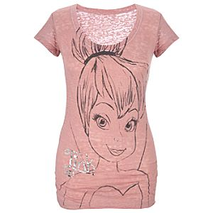 Fitted Burnout Tinker Bell Tee for Women