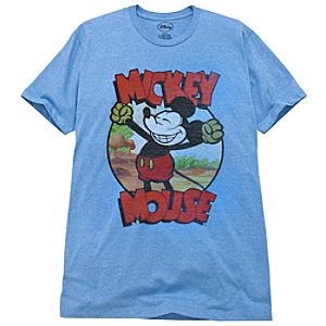 Heather Blue Vintage Mickey Mouse Tee for Men