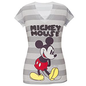Fitted V-Neck Rhinestud Mickey Mouse Tee For Women