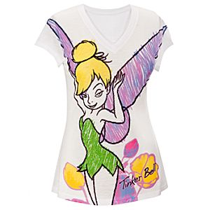 Fitted V-Neck Rhinestone Tinker Bell Tee For Women