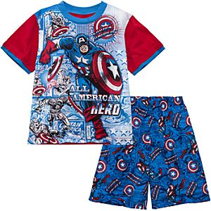 Short Captain America PJ Set for Boys