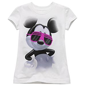 Organic Glitter Mickey Mouse Tee for Girls