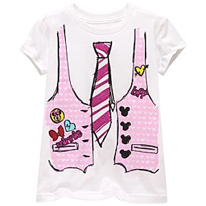 Organic Tie and Vest Minnie Mouse Tee for Girls