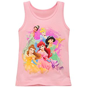 Organic Glitter Disney Princess Tank Top for Girls