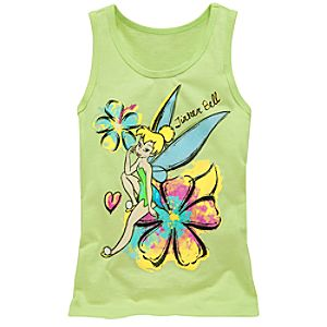 Organic Watercolor Tinker Bell Tank Top for Girls