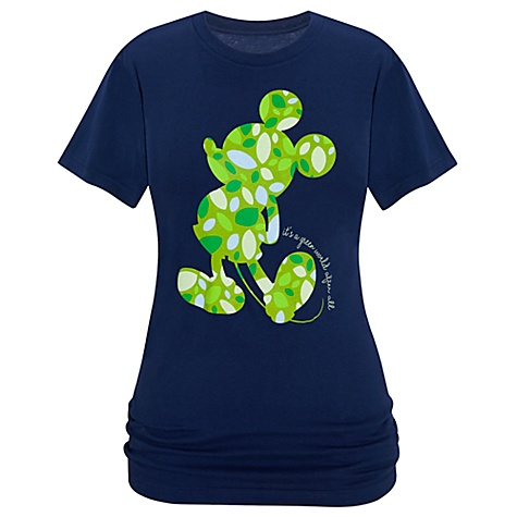 Organic Leaf Silhouette Mickey Mouse Tee for Women