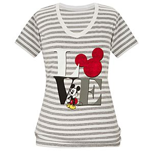 V-Neck Striped Love Mickey Mouse Tee for Women -- Made With Organic Cotton